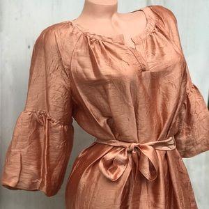 Golden peach silk dress Talbots petite boho gypsy